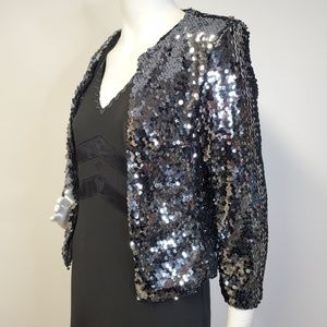 BB DAKOTA Gunmetal Silver Sequin Crop Jacket